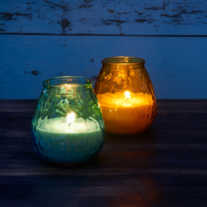 blue and orange citronella candles